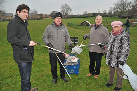 Badger Hill litter pickers. Pictured from the left are Councillor David Levene, John Nixon a badger Hill Womble, Harry Telfer the chairman of Badger Hill Residents Community Group and Elisa Main another womble.