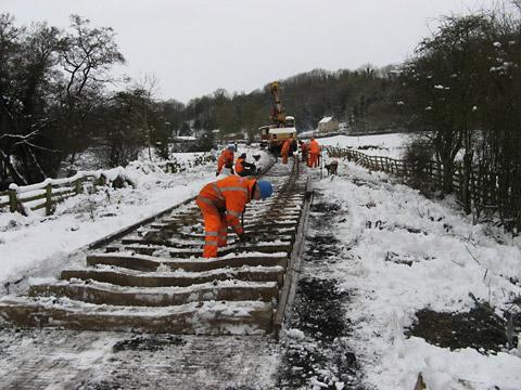 Workers help carry out essential maintenance on part of the track of the North Yorkshire Moors Railway