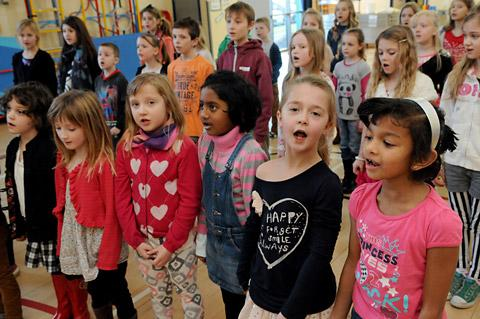 York Press: Children from St Barnabas' school in rehearsal for their performance of Romany Wood in aid of Unicef in May