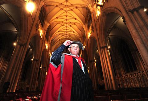 David Hockney, who received an honorary doctorate from the University of York at a ceremony in York Minster last night