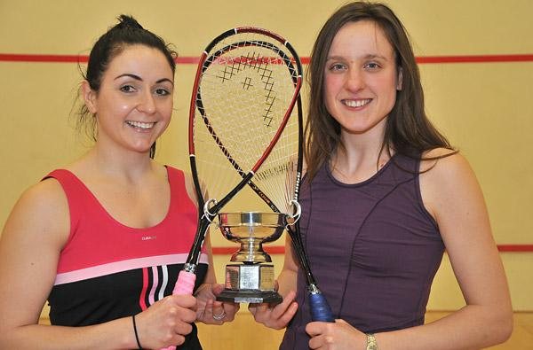 York & District Ladies Open Squash Championship winner Jess Hunter, above right, is pictured with runner-up Natalie Cain