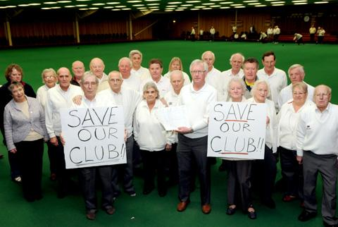 Members of Ryedale Indoor Bowls Club in Norton call for people to sign their petition in the latest bid to save the club