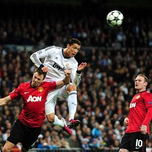 Cristiano Ronaldo, centre, scored Real Madrid's first-half equaliser against Manchester United