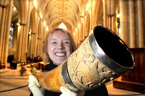 Vicky Harrison, collections manager at York Minster, with the Horn of Ulf, a ceremonial drinking horn