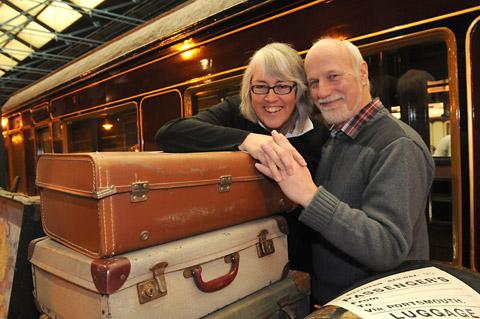 Helen and Adrian Ashby, from York, relive their railway romance at the National Railway Museum