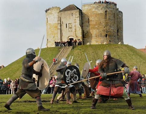 The warriors do battle during the skirmish at the Eye of York as part of the Viking Festival
