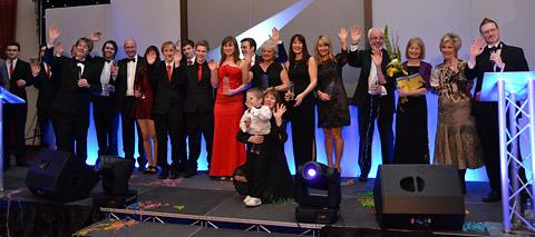 Minster FM award winners on stage at York Racecourse