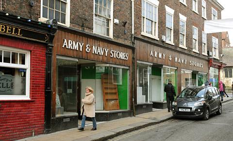 The old Army & Navy Store premises at the top of Fossgate, York