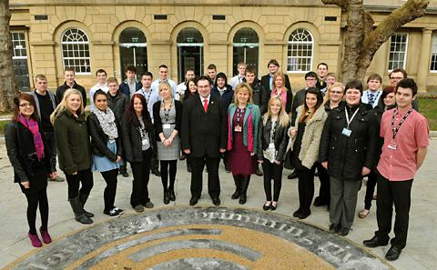 Centre, from left, cabinet member for corporate services Coun Julie Gunnell, authority leader Coun James Alexander and chief executive Kirsten England welcome City of York Council apprentices to West Offices