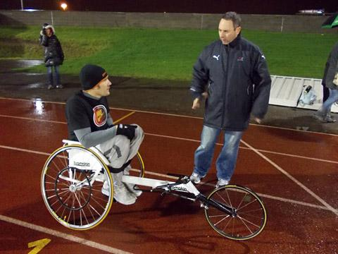 Tiaan Bosch, of York, is put through his paces in training in the wheelchair he has to borrow