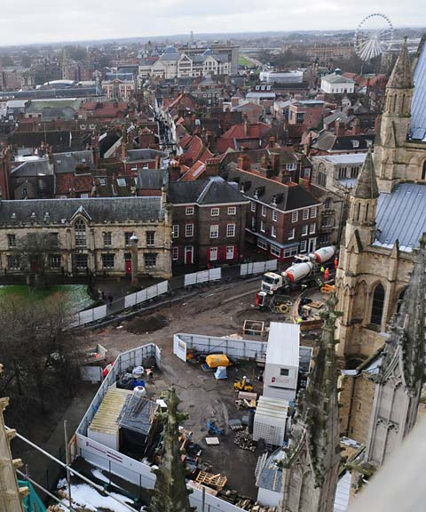 Bird's eye view of York Minster piazza