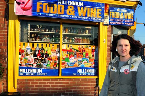 Shop worker Joanne Wright, who was threatened by a robber at Millennium Food & Wine in Bishopthorpe Road