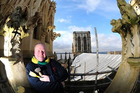 Master stonemason Paul Deamer at York Minster