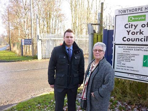 Conservative councillors Paul Doughty and Sian Wiseman, who have launched the e-petition, at the entrance to Towthorpe Depot
