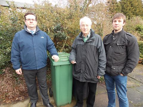 Liberal Democrat Prospectice Parliamentary Candidate for York Outer Nick Emmerson, Coun Ian Cuthbertson and resident Jonathan Lancaster campaign against proposals that could see householders charged for having their green waste bins collected