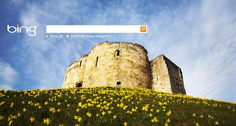 The image of Clifford's Tower greeting  people using the Bing search engine today