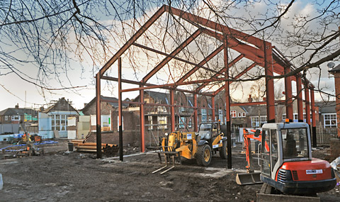 The new building framework at Knavesmire Primary school.