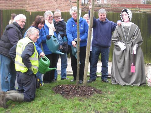 """Eliza Gutch"" joins representatives from Sleightholme Landscapes, York Tree Wardens, Treemendous York and Holgate Windmill for the planting ceremony"