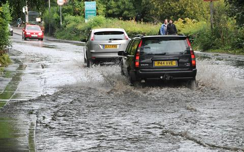 Flood waters on the A19 at Fulford in September last year, shortly before the road was completely closed because of the rising waters