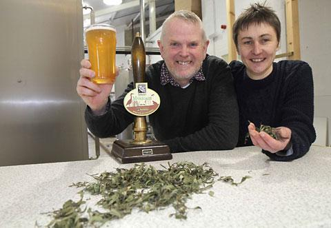 John Lewis and  partner Jane Blackman of the Treboom Brewery with bog myrtle from the North York Moors, used to make the Myricale beer