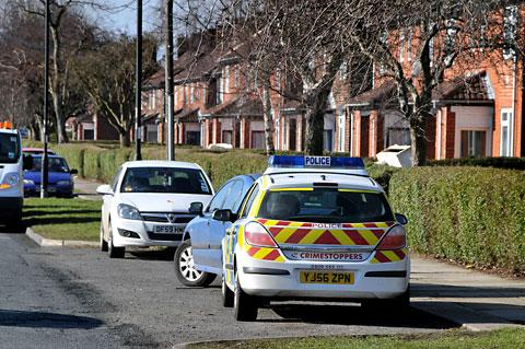 A police car close to the scene of the incident in Burdyke Avenue, York