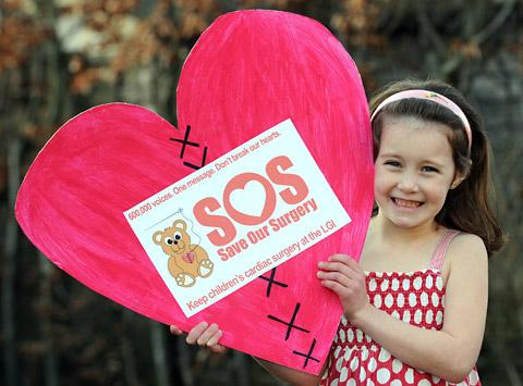 Hole-in-the-heart patient Freya Popplewell, six, who is backing the campaign to keep the children's heart surgery unit in Leeds