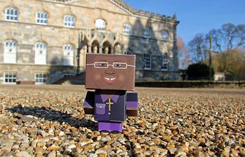 "The paper ""avatar"" of the Archbishop of York pictured outside Bishopthorpe Palace"