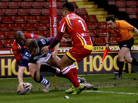 George Elliott reaches out to touch down for York City Knights' opening try against Sheffield Eagles at Bramall Lane in the Kingstone Press Championship