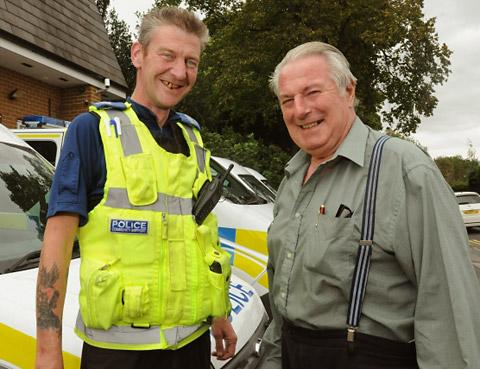 PCSO Lee Johnson and Raymond Towell meeting last year, a few weeks after the drama in Blossom Street