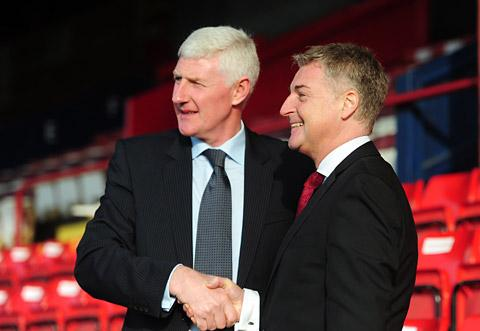 York City chairman Jason McGill, above right, greets the arrival of new Minstermen manager Nigel Worthington to his Bootham Crescent domain after being tasked with staving off the threat of relegation back out of the Football League