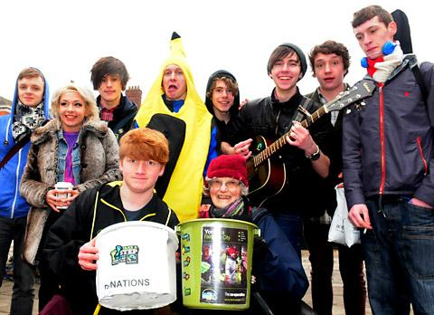 Ben Dalton and Sylvia Voisk, with fundraisers and musicians, raise money for Fairtrade in Parliament Street, York
