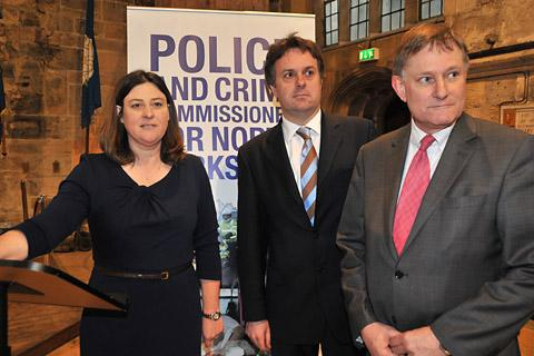 North Yorkshire Police and Crime Commissioner Julia Mulligan with MPs Julian Sturdy and Hugh Bayley at the public meeting