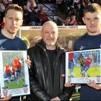 Daniel Parslow, far left, and Jack O'Connell, near left, are presented with The Press February  player of the month awards by City fan Gary Horwell