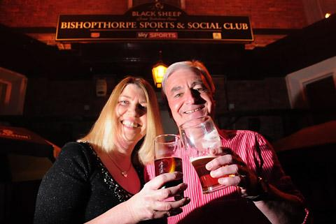 Dawn Paylor and Martin Scott raise a pint to Bishopthorpe's beer festival, running next Saturday and Sunday at the Sports and Social Club