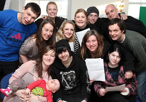 Young people on the Springboard Project with project workers and film-makers from Biomation, who are helping the youngsters to make a film charting their lives