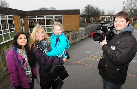 From left, Poppleton Ousebank School teacher Roxy Kauser, pupil Berlin Walker with her mum, Kay, and Grand Designs  cameraman Orlando Fowler