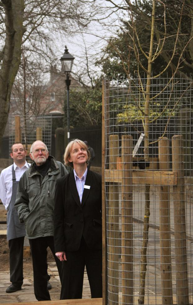 Admiring the newly planted trees are, from left, Simon Wright (customer services partner with Waitrose), Philip Crowe, chairman of Treemendous, and Caroline Holroyd, deputy branch manager at Waitrose, York