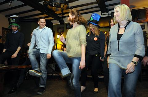 GREAT CRAIC: Dancers take part in the Join The Jig event at O'Neill's in Low Ousegate, York, as part of St Patrick Night celebrations