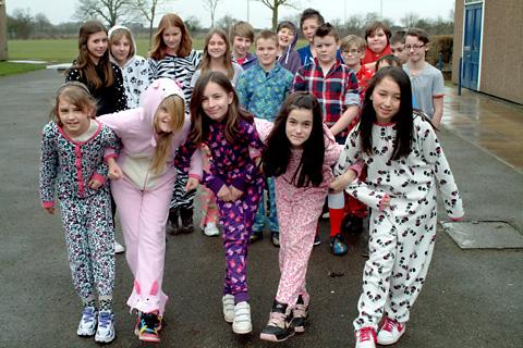 Red Nose Day events at Brayton High School, near Selby, included pupils turning up in their  pyjamas