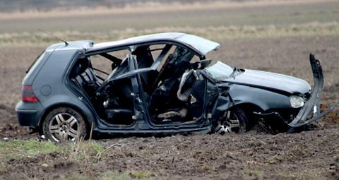 The driver had to be cut free from this car after it crashed into a field at Chapel Haddlesey, near Selby