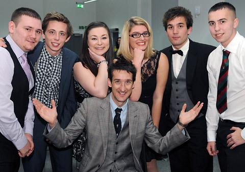 Rob Walker with, from left, Aidan Ballanger, Ben Hodgson, Abigail Wright, Ashleigh Green, Aron Jackson and Chris White