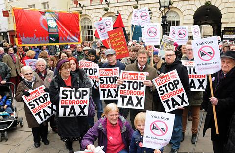 "York Central MP Hugh Bayley joins other protesters against the ""Bedroom Tax"" in St Helen's Square"