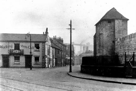 York Press: The Phoenix weighbridge after it became a working men's club. Leedham's flour mill can be seen in the distance