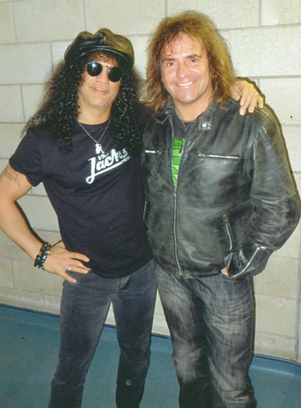 Legal adviser Julian Cundiff, right, with Guns N Roses guitarist Slash