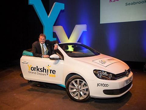 Gary Verity, chief executive of Welcome to Yorkshire, with one of the branded cars