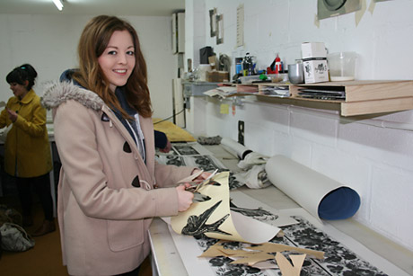 York Press: Natasha Murray, an art foundation student at York College, cutting out and colouring Deborah Bowness's images