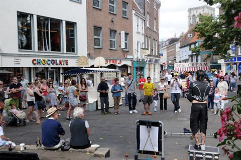Street  entertainers in King's Square, York