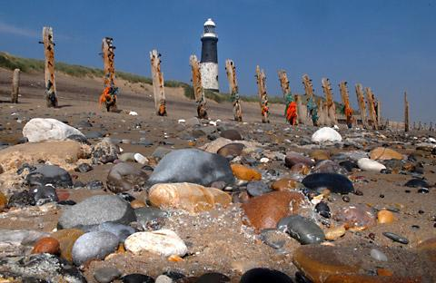Spurn Point, with the mothballed lighthouse in the background