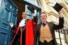 Chris Cade as George Hudson with the Lord Mayor of York, Coun Keith Hyman, on the steps of the Mansion House