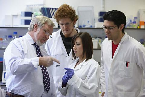 Professor Norman Maitland, left, and his team at the University of York